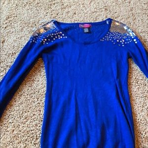 Blue with silver sequin lightweight sweater